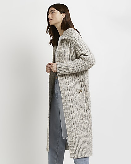 Beige cable knitted duster coatigan