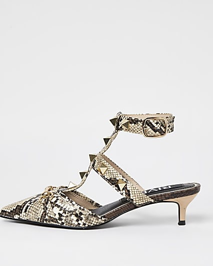 Beige caged kitten heeled court shoes