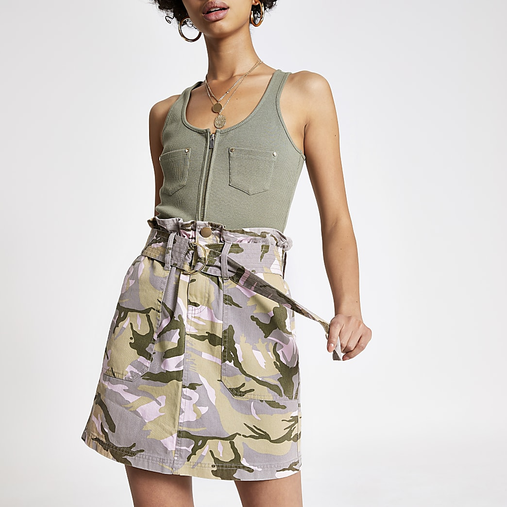 Beige camo belted denim skirt
