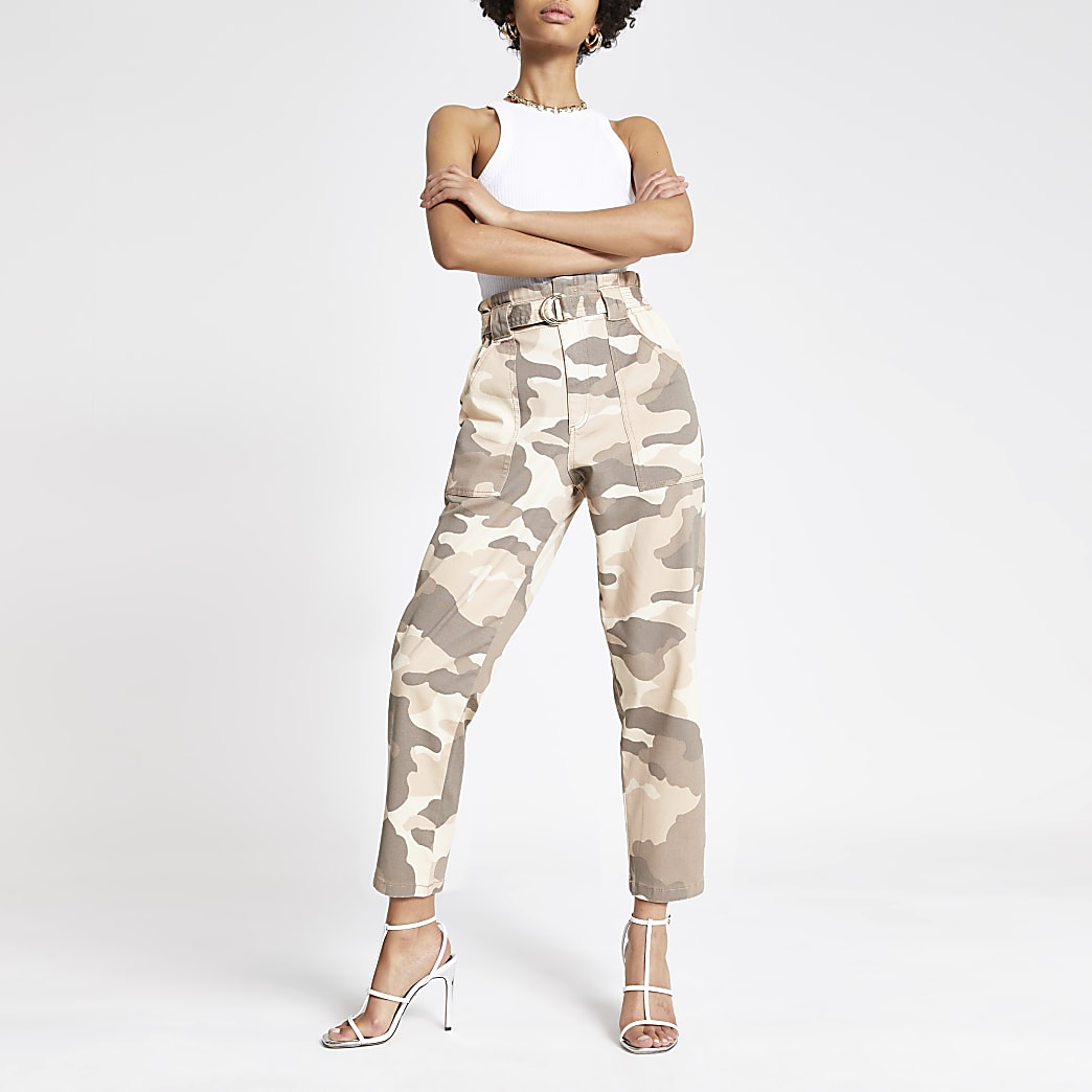 Beige camo paperbag jeans