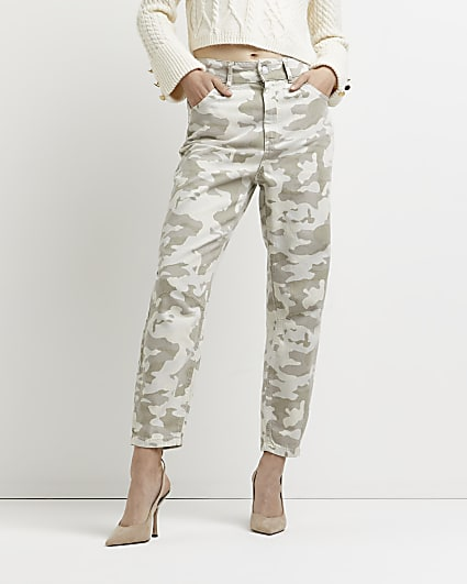 Beige camo print tapered trousers