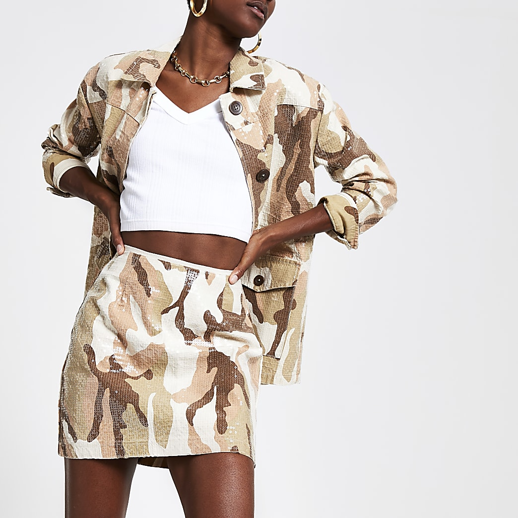 Beige camo sequin mini skirt