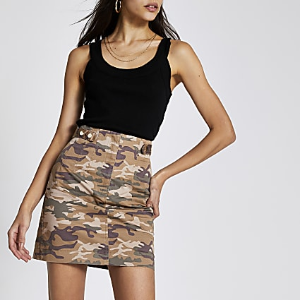 Beige camo twill mini skirt
