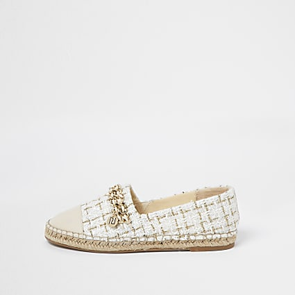 Beige chain detail espadrille shoes