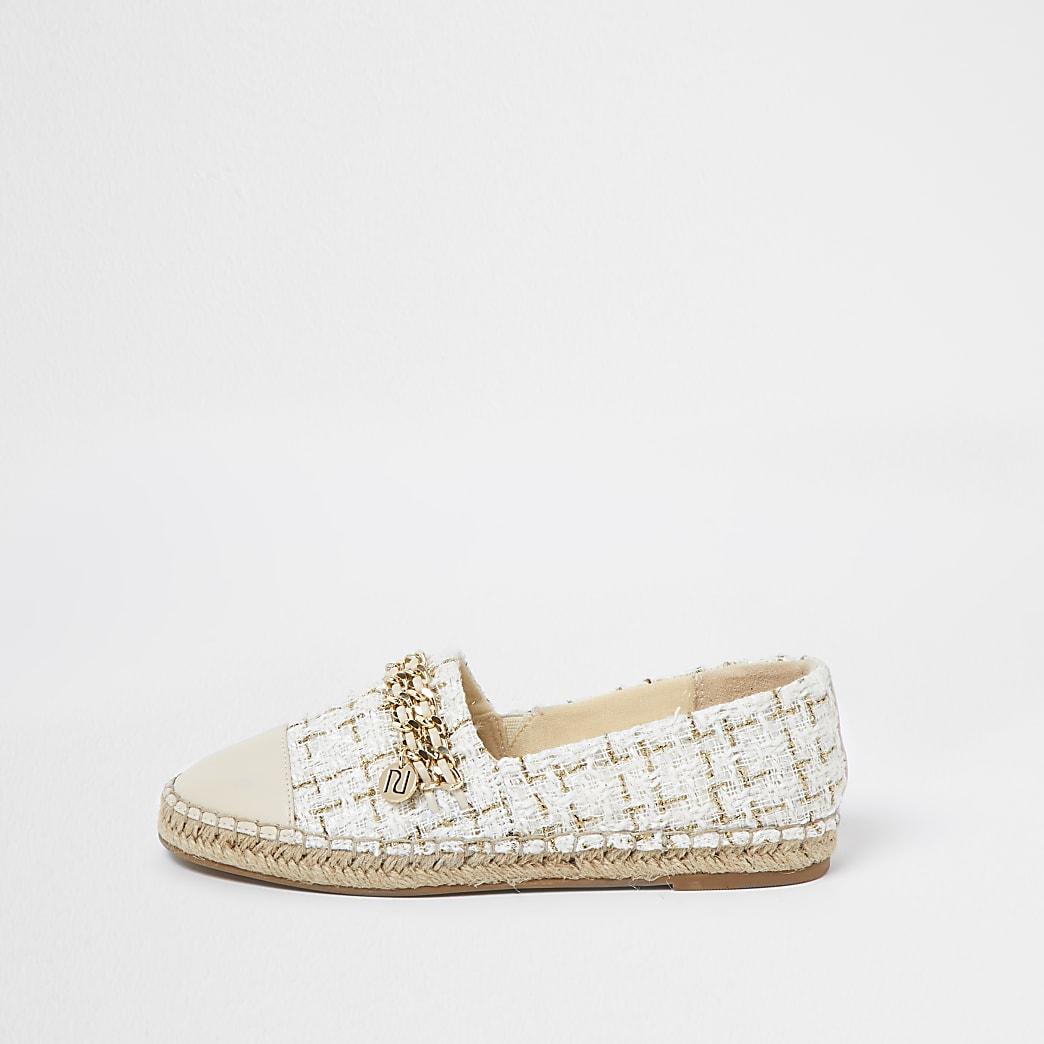 Beige chain detail espadrille shoes