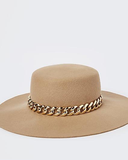 Beige chain detail Fedora hat
