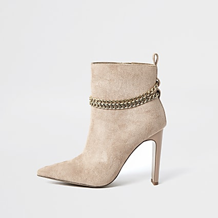 Beige chain high heel boots