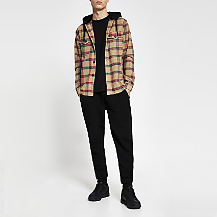Beige check hooded long sleeve shacket