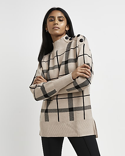 Beige check knitted jumper