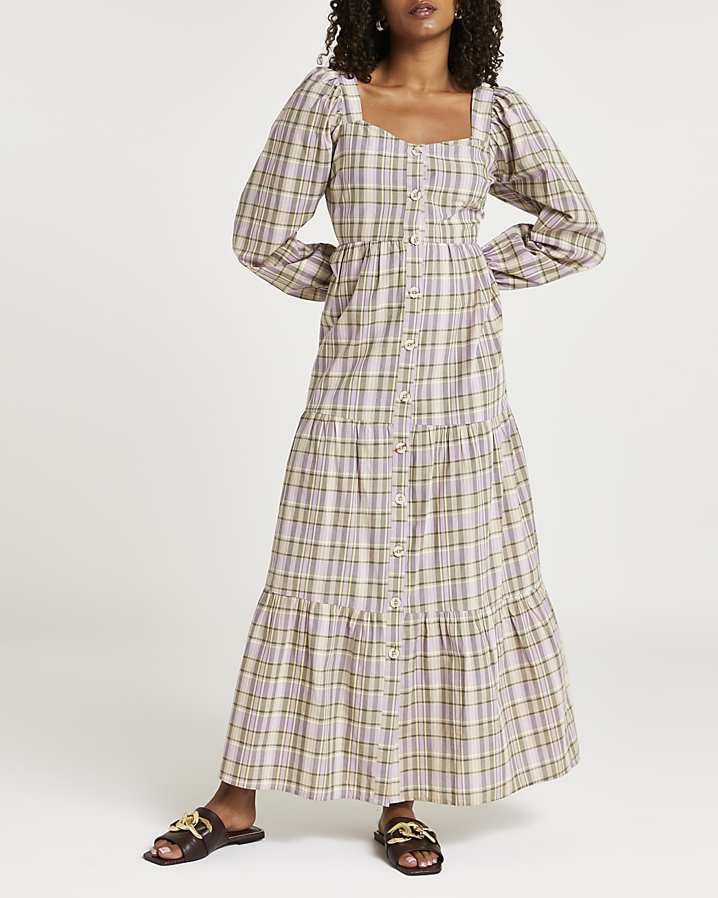 Beige check maxi dress