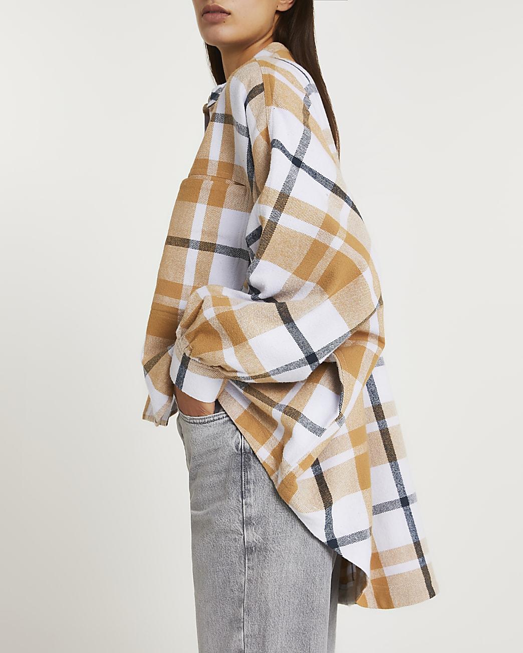 Beige check oversized batwing shirt