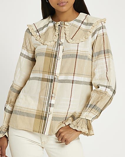 Beige check oversized collar blouse