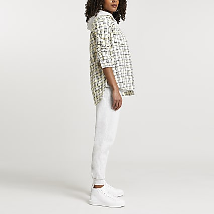 Beige check print boucle shacket