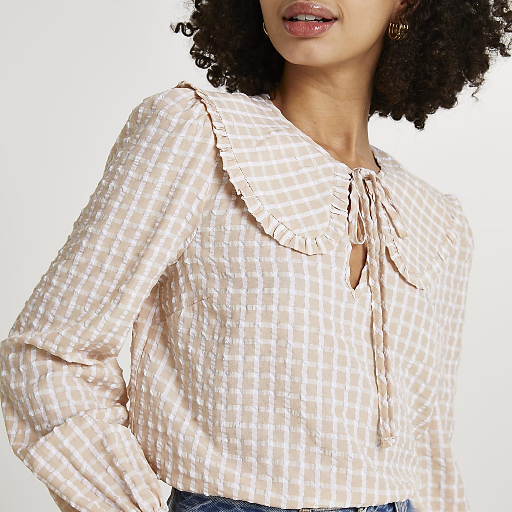 Beige check print collar blouse top