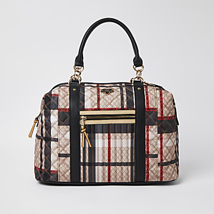 Beige check print holdall