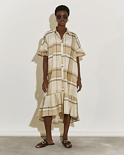 Beige check print midi shirt dress