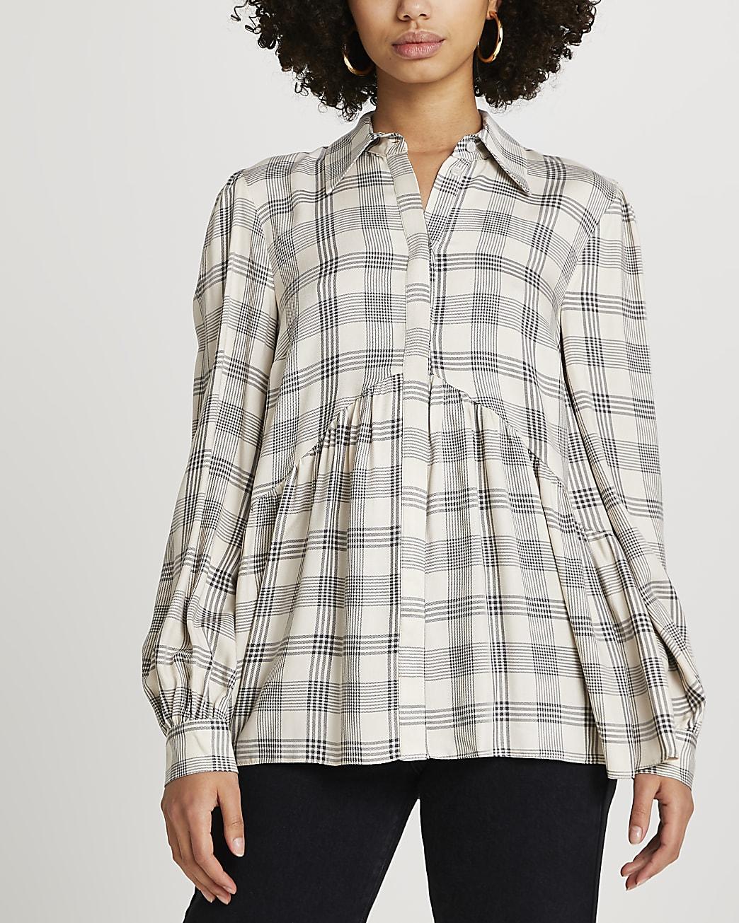 Beige check print smock shirt