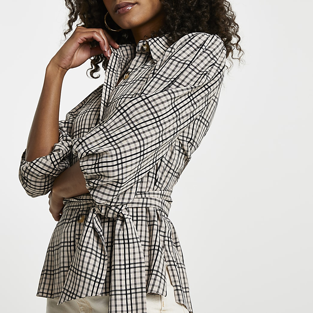 Beige check print waisted belted shirt