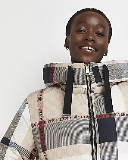 Beige check puffer coat