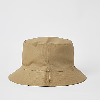 Beige check reversible bucket hat
