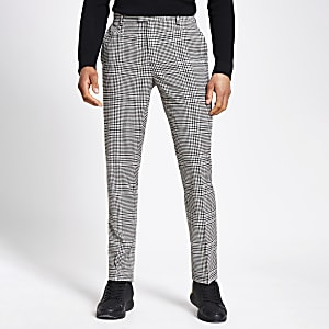 Pantalon slim à carreaux beige