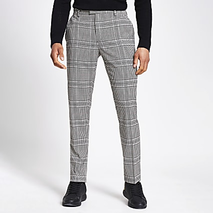 Beige check slim fit trousers