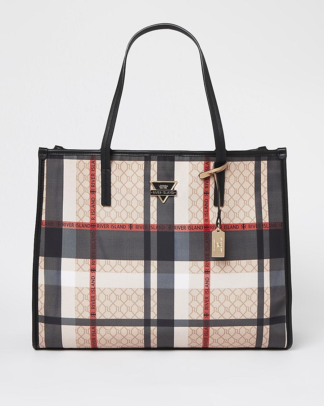 Beige check square shopper bag