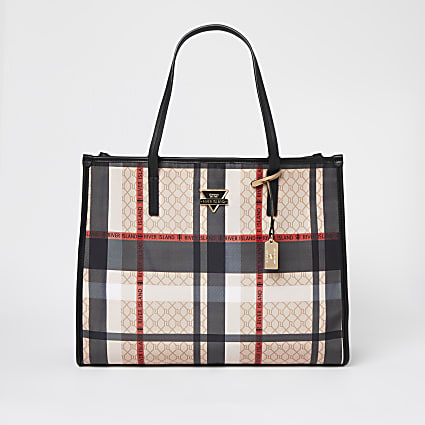 Beige check square shopper bag