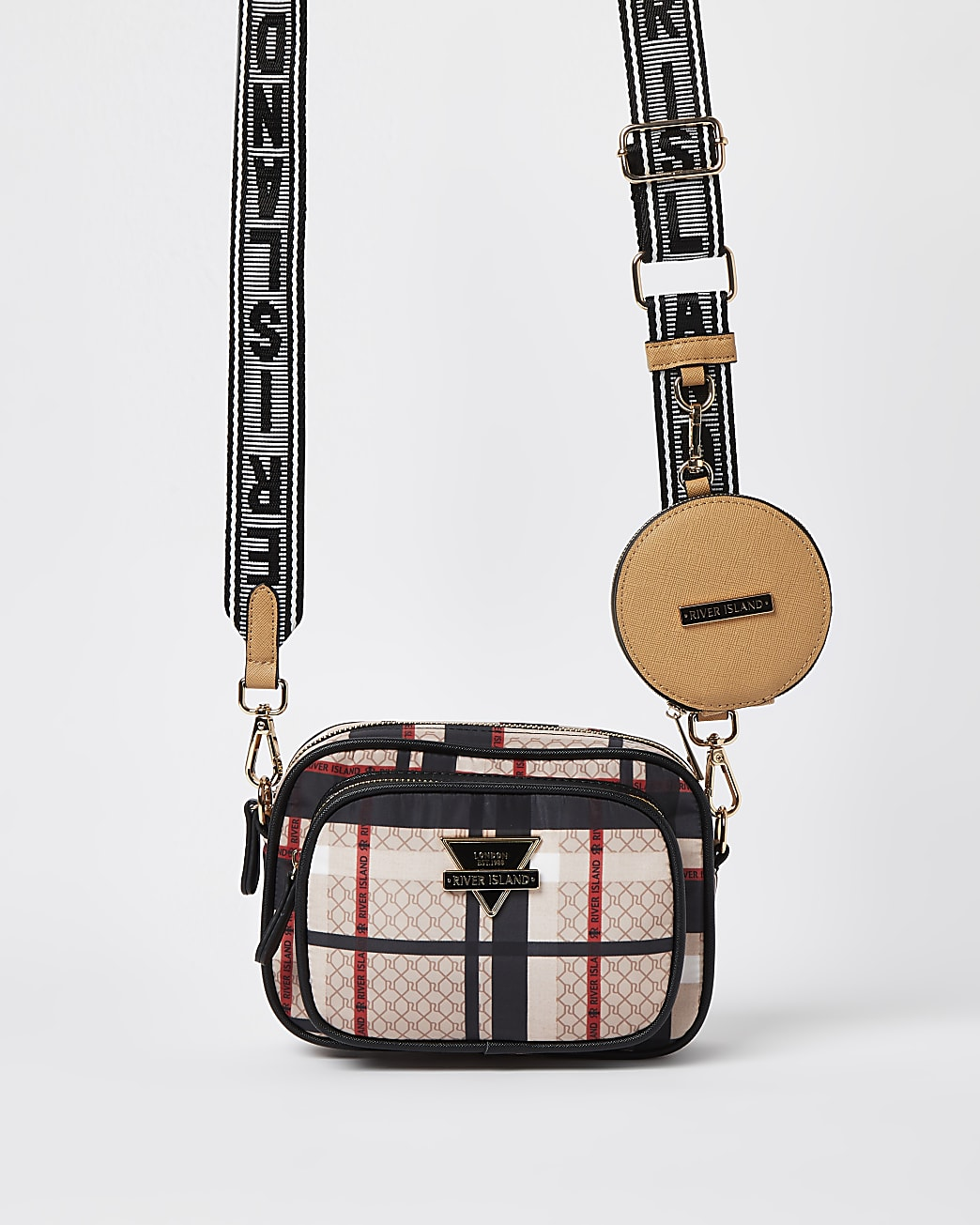 Beige checked camera bag with pouch