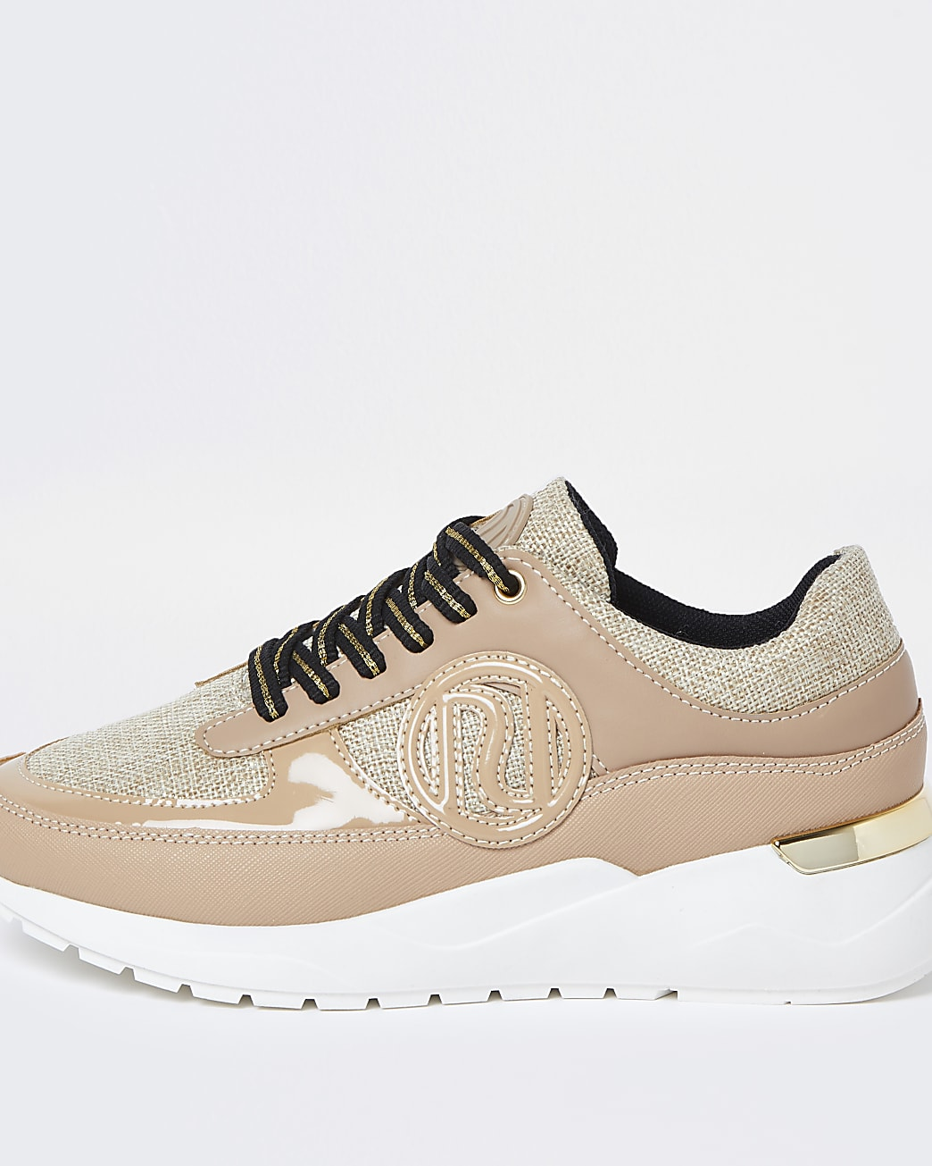 Beige chunky branded lace up trainers