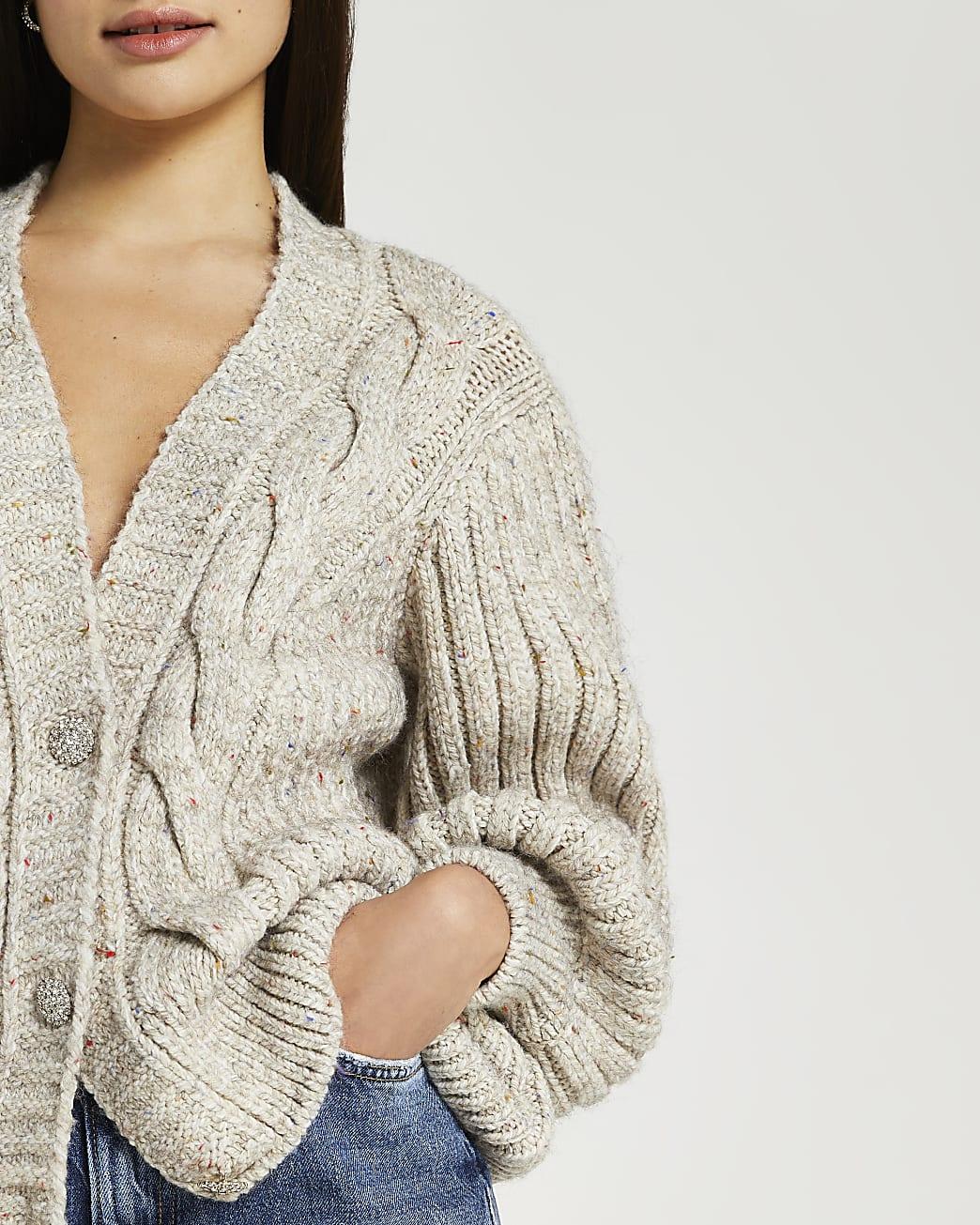 Beige chunky knit cardigan