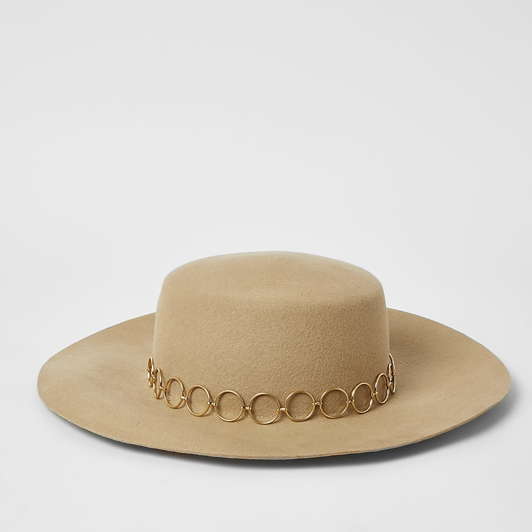 Beige circle chain Fedora hat
