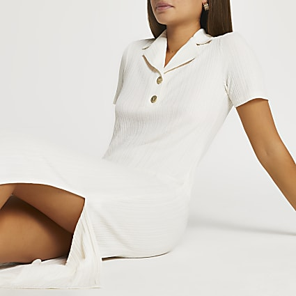 Beige collar neck button midi dress