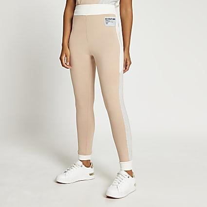 Beige colour block leggings