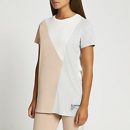 Beige colour block t-shirt