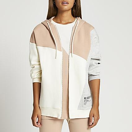 Beige colour block zip through hoodie