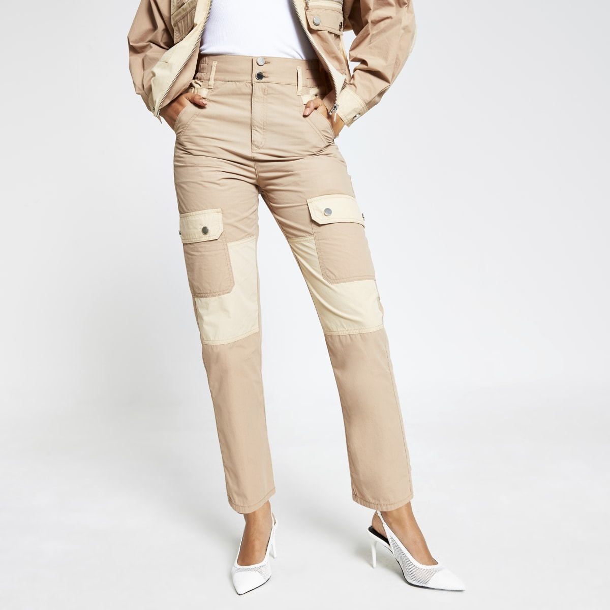 Beige colour blocked twill cargo trousers