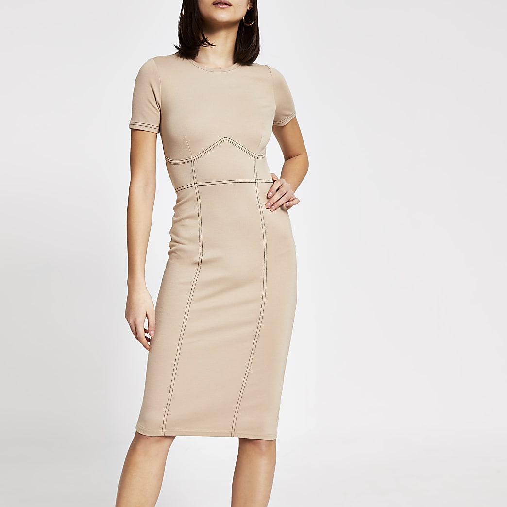 Beige contrast stitch bodycon midi dress