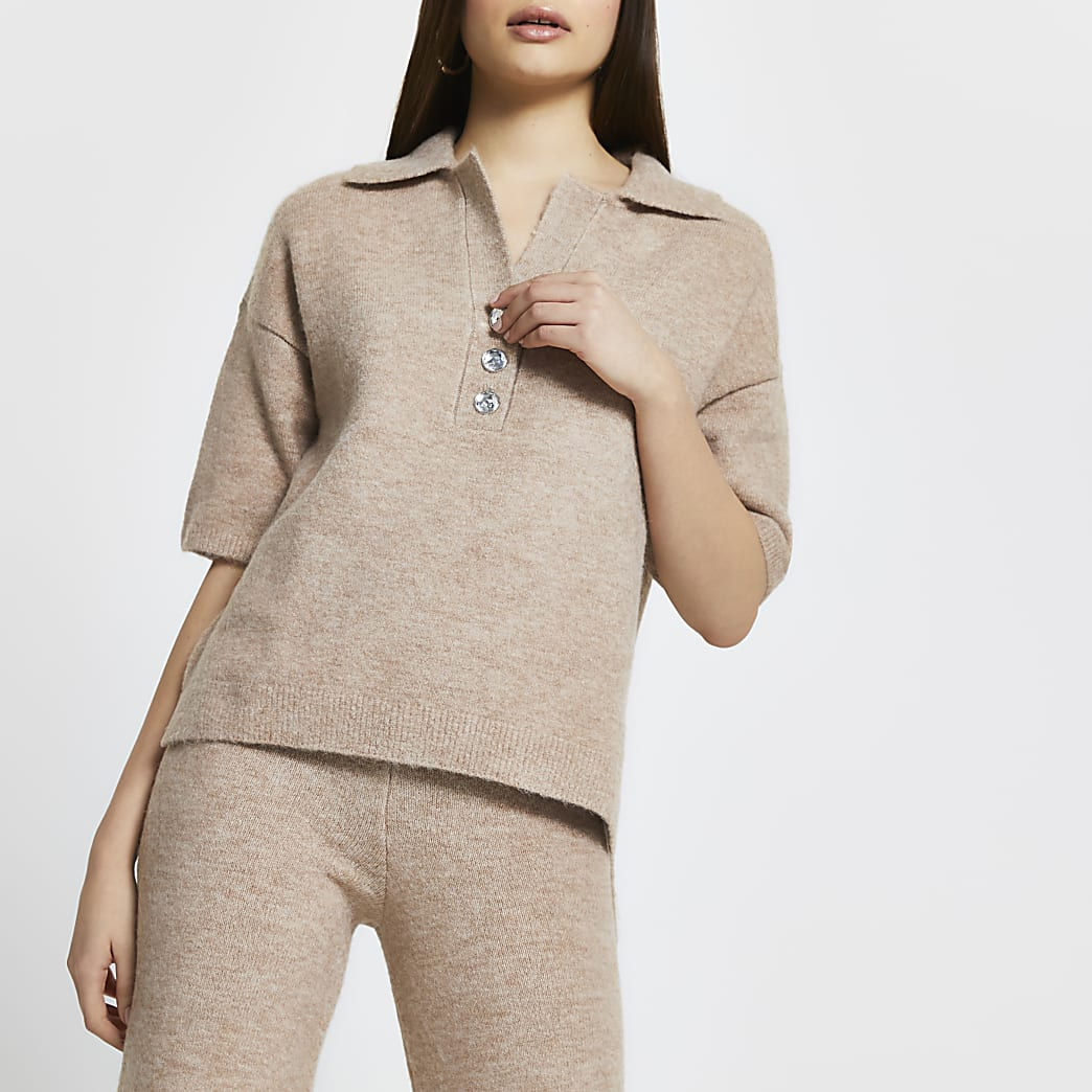 Beige cosy jewel button t-shirt