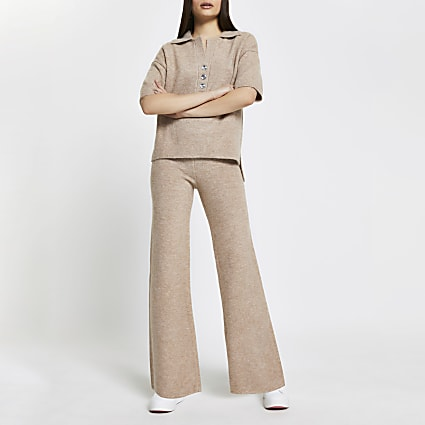 Beige cosy wide leg trousers