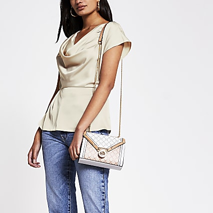 Beige Cowl Neck Peplum Top