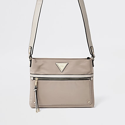Beige cross boy messenger handbag