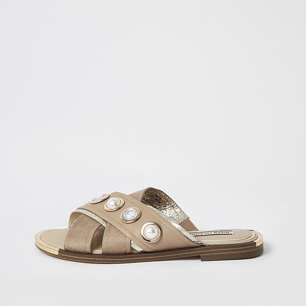 Beige cross over strap embellished sandals