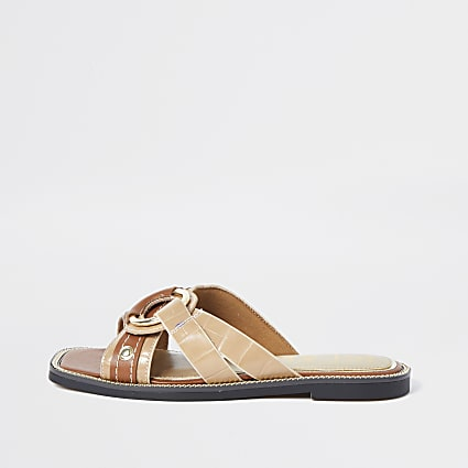 Beige cross strap sandals
