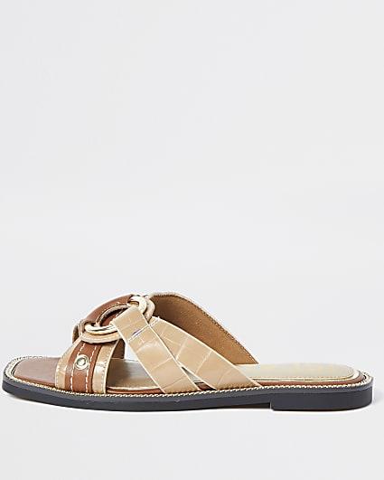 Beige cross strap sandals