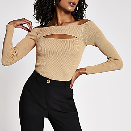 Beige cut out bardot top