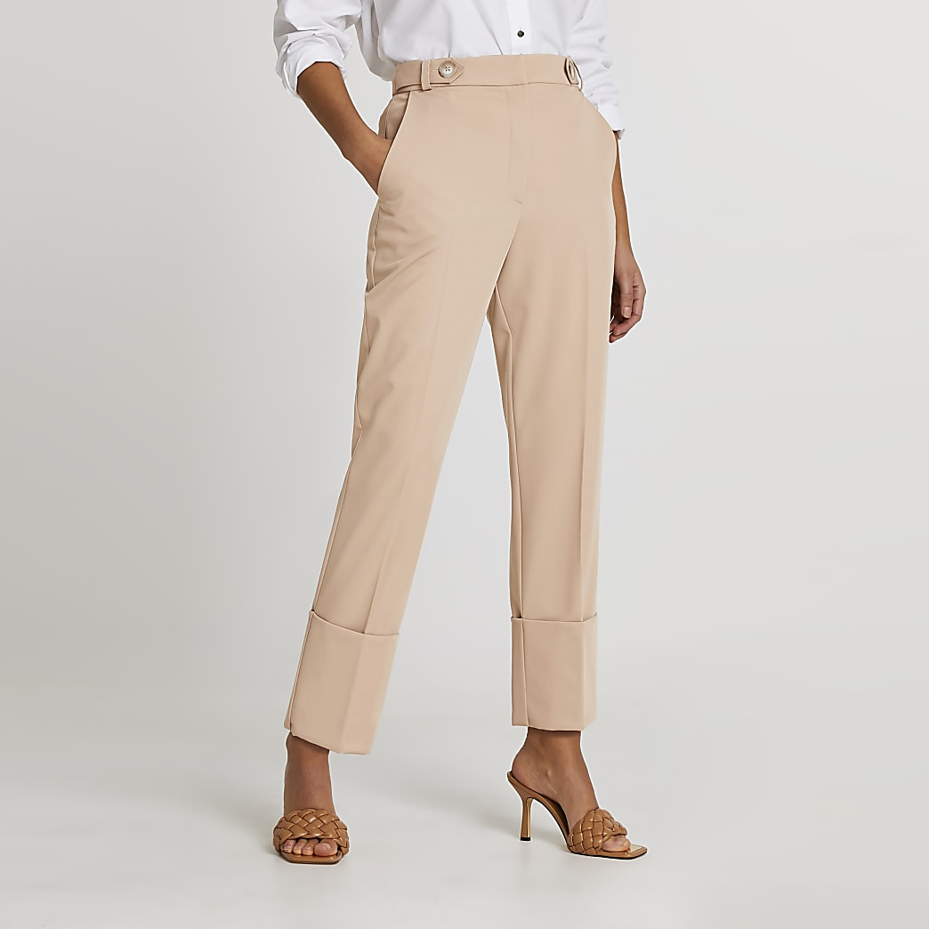 Beige deep cuff trouser