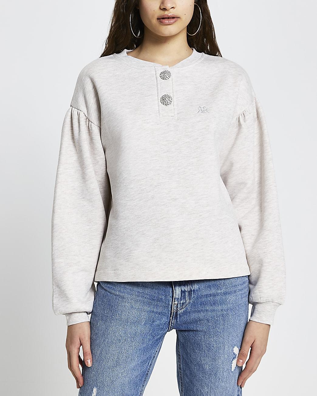 Beige diamante button sweatshirt