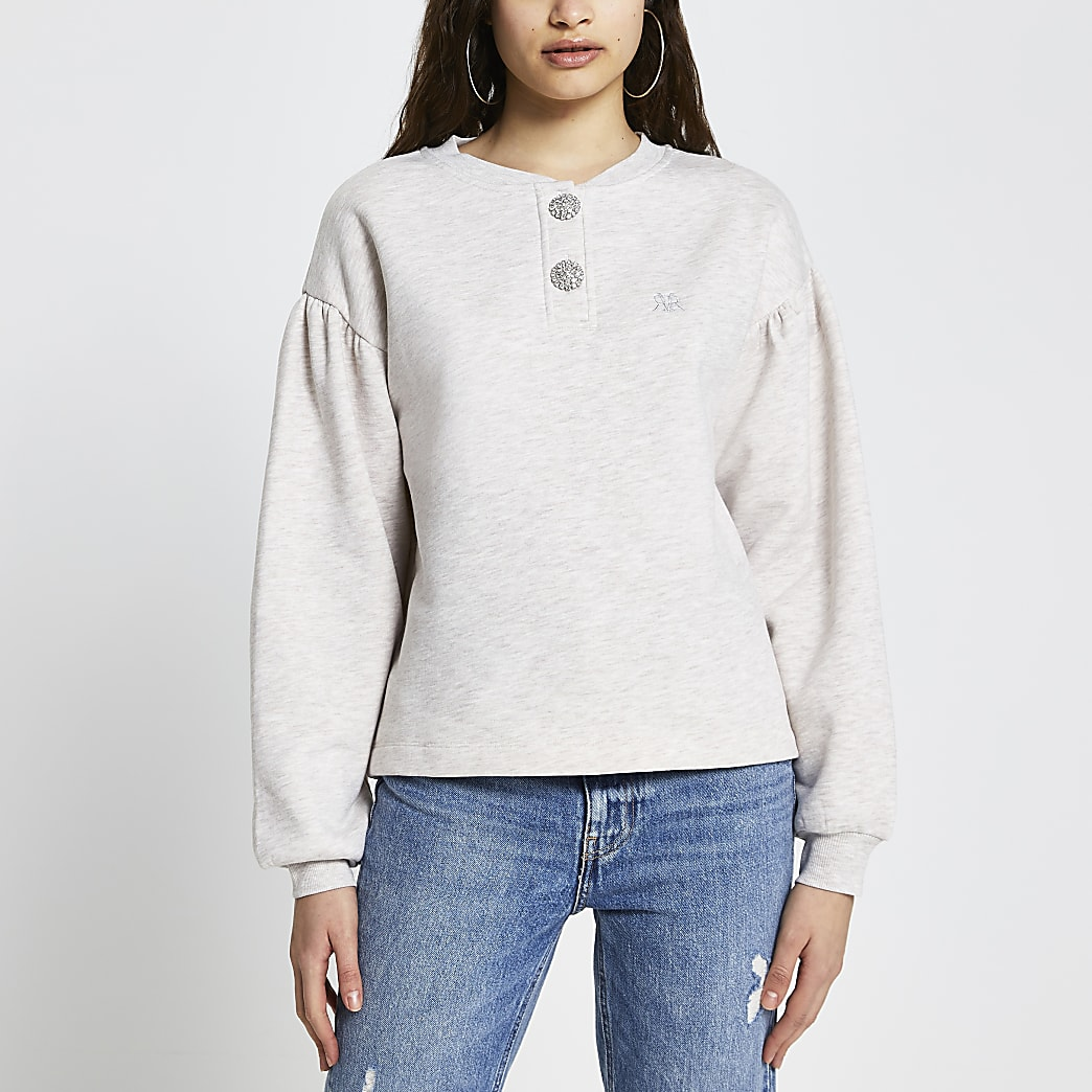 Beige diamante button sweatshirt