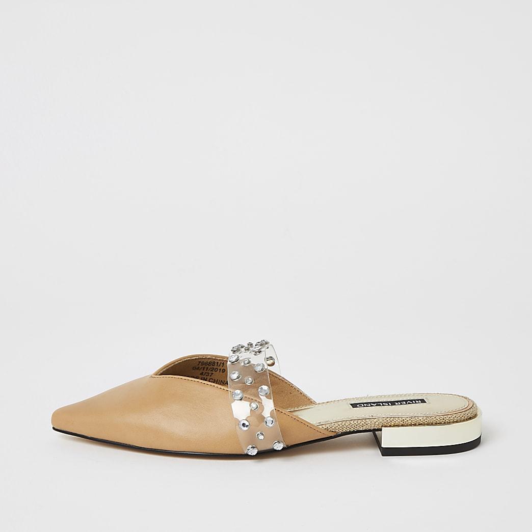 Beige, spitze Schuhe mit Strass